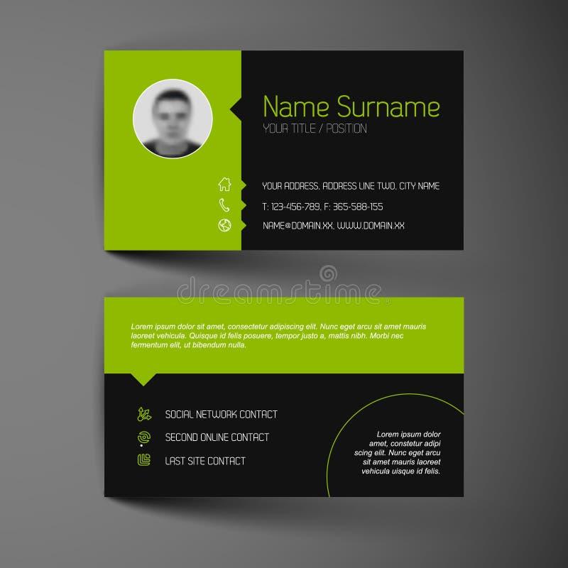 Modern dark business card template with flat user interface. Modern dark simple light business card template with flat user interface stock illustration