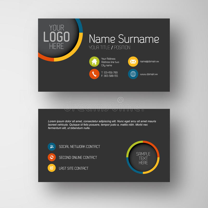Free Modern Dark Business Card Template With Flat User Interface Royalty Free Stock Photo - 39473525