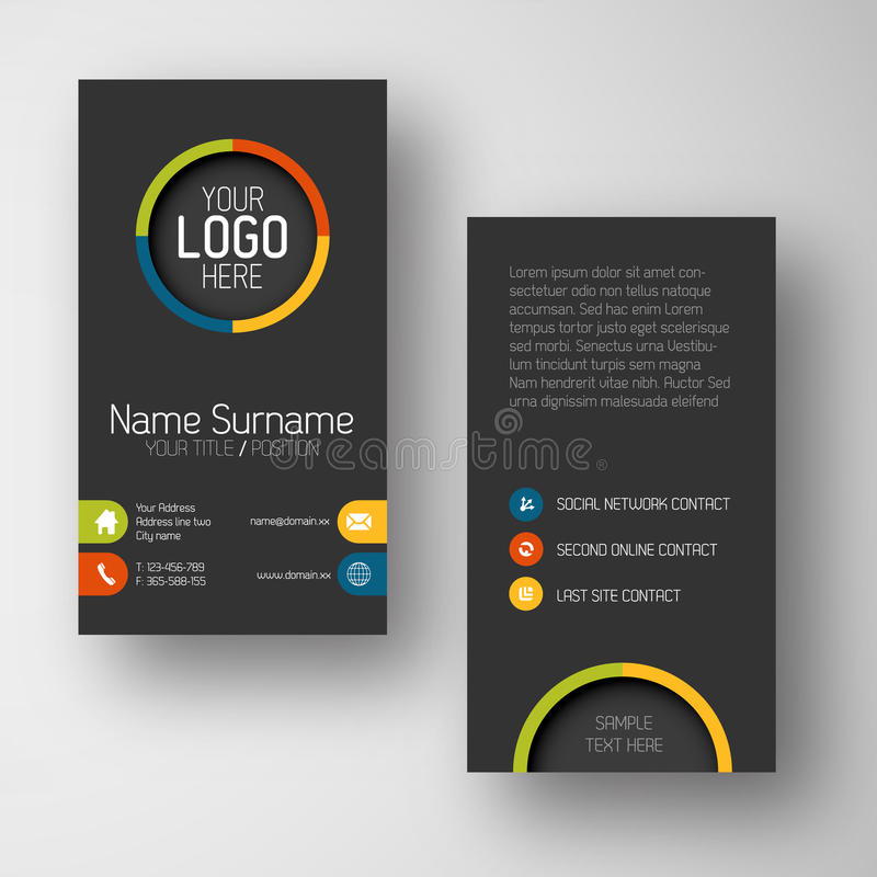 Modern dark vertical business card template with flat user interface stock illustration