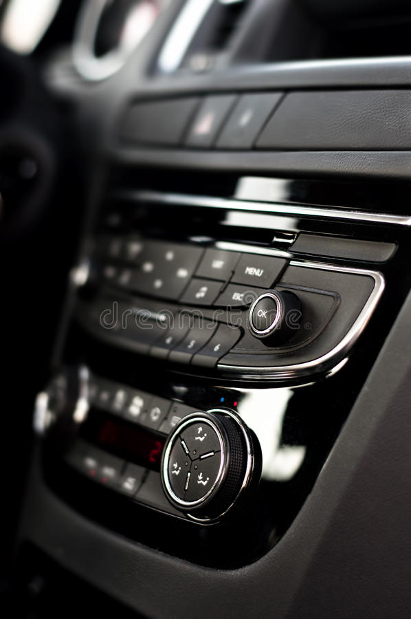 Modern dashboard with clima controls in car interior stock photography