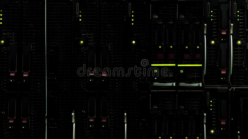 Modern datacenter with lights, remote storage of information, server racks stock image