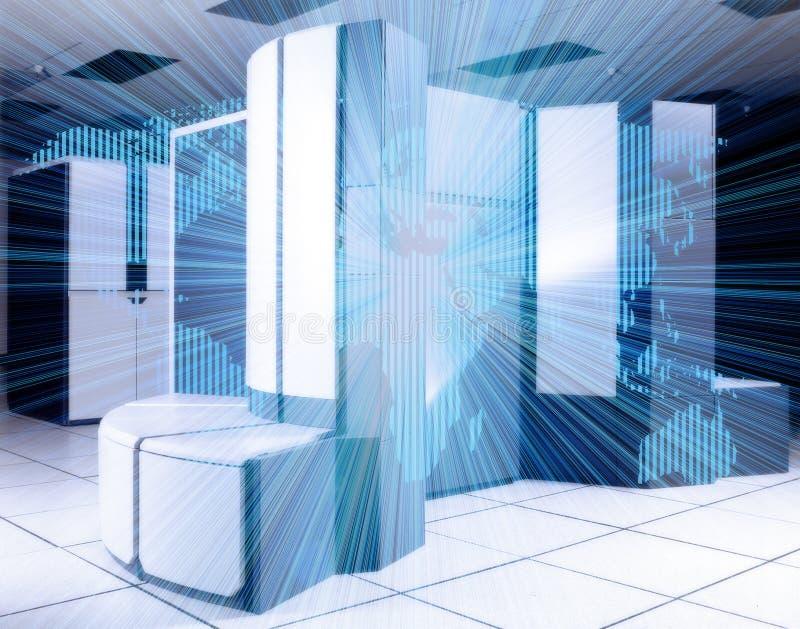 modern datacenter Nätverk för rengöringsduk för serverrum inre och global internetkommunikationsteknologi stock illustrationer