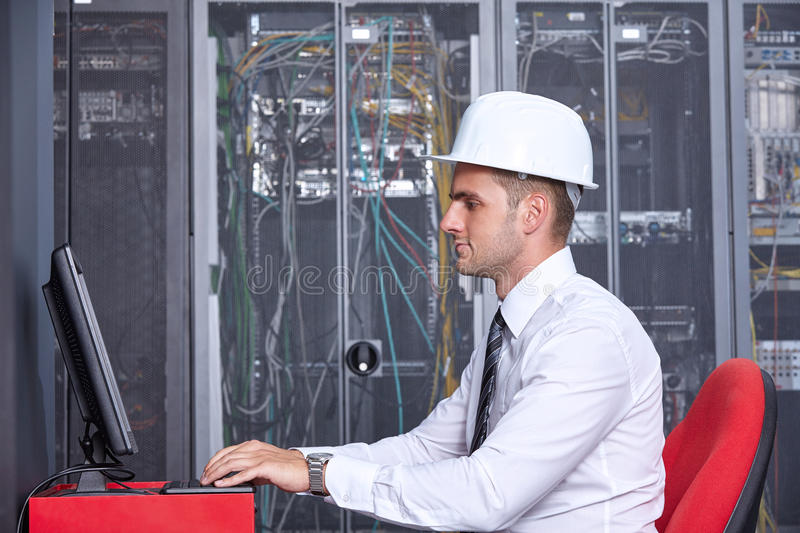 Modern datacenter server room royalty free stock photo