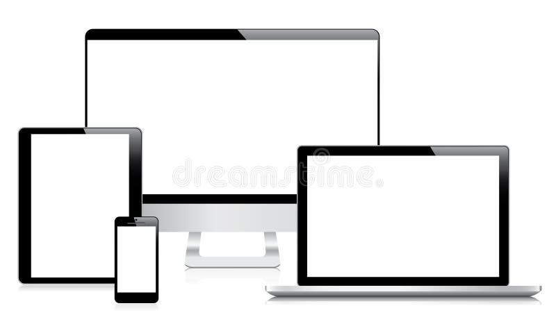 Modern dator-, bärbar dator-, minnestavla- och smartphonevec vektor illustrationer