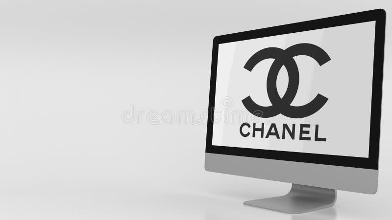 Modern datorskärm med den Chanel logoen Redaktörs- tolkning 3D royaltyfri illustrationer