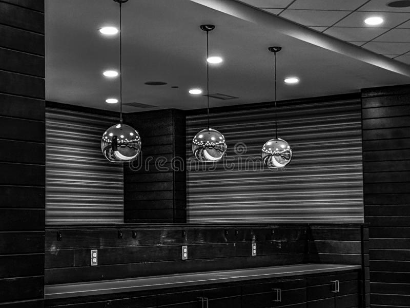 Modern Day architecture. Black and white example of modern architecture inside a quality restaurant stock photography