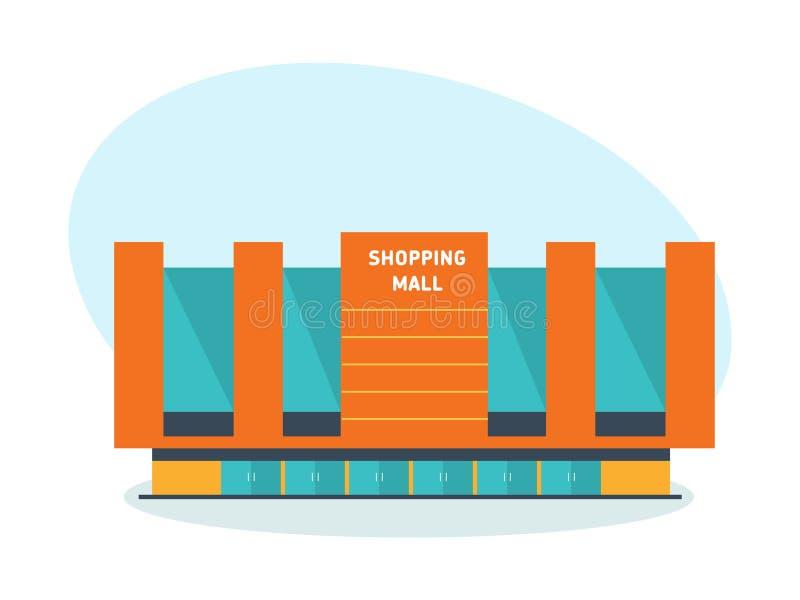 Modern de bouwwinkelcomplex, winkelcentrum en complexe, architecturale structuur royalty-vrije illustratie