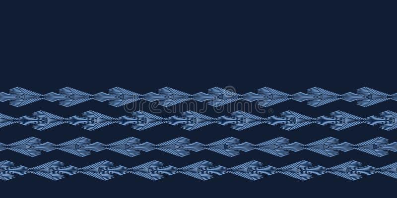 Modern de grenspatroon van de indigo blauw geometrisch hand getrokken diamant Het herhalen van abstracte achtergrond Sier zwart-w vector illustratie