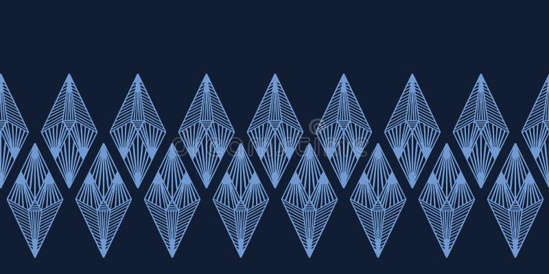 Modern de grenspatroon van de indigo blauw geometrisch hand getrokken diamant Het herhalen van abstracte achtergrond Sier zwart-w stock illustratie