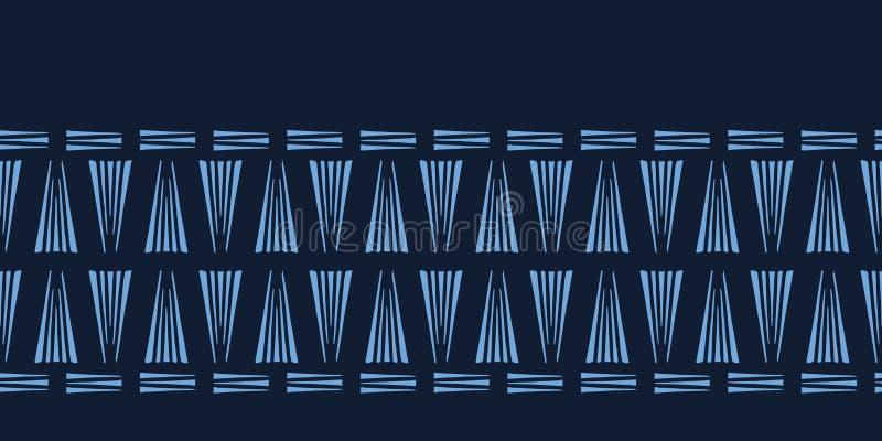 Modern de grenspatroon van indigo blauw geometrisch hand getrokken driehoeken Het herhalen van abstracte achtergrond Sier zwart-w vector illustratie