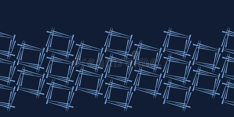 Modern de grenspatroon van indigo blauw geometrisch hand getrokken vierkanten Het herhalen van abstracte achtergrond Sier zwart-w vector illustratie