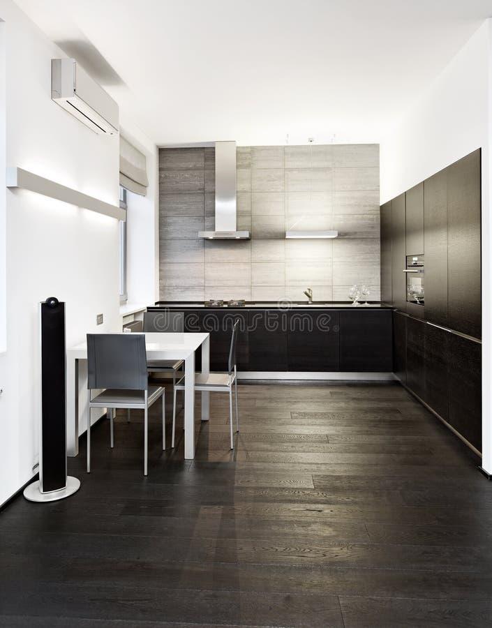 Modern de keukenbinnenland van de minimalismstijl stock foto