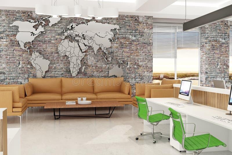 Modern de open plekbinnenland van het computerbureau met wereldkaart en bakstenen muren het 3d teruggeven stock illustratie