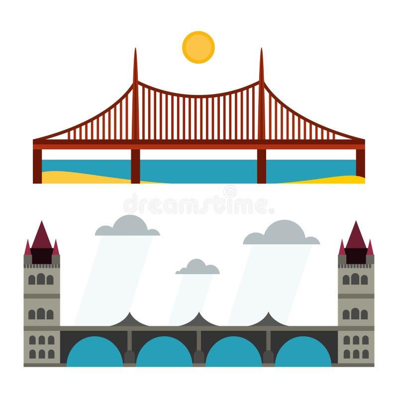 Modern de reis van de van het bedrijfs brug vlak pictogram architectuur stedelijk stad marketing concept en in bouwontwerp stock illustratie