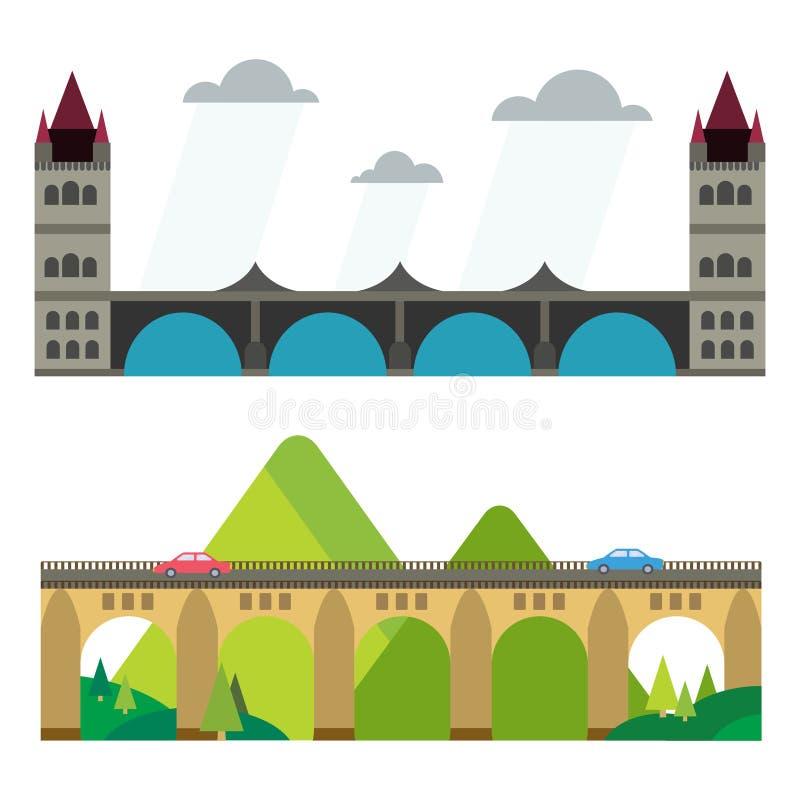 Modern de reis van de van het bedrijfs brug vlak pictogram architectuur stedelijk stad marketing concept en in bouwontwerp royalty-vrije illustratie