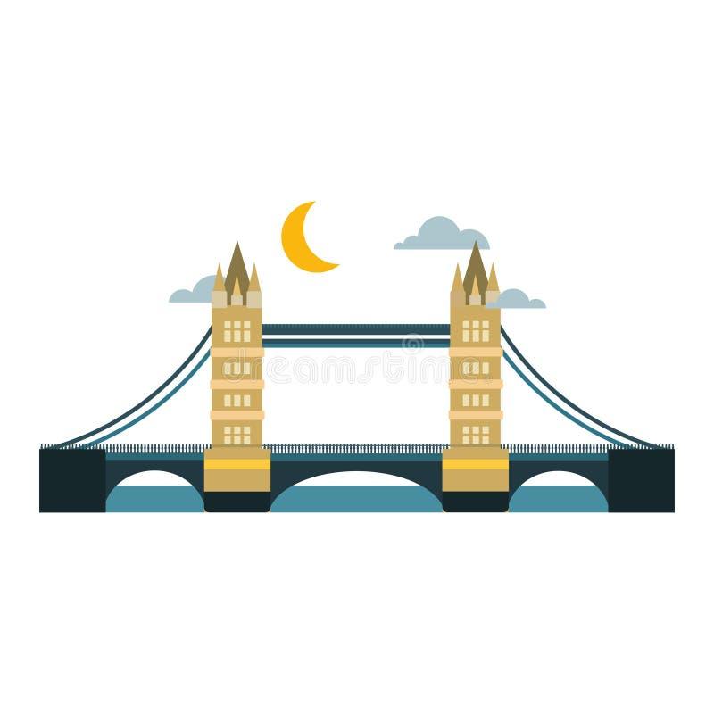 Modern de reis van de van het bedrijfs brug vlak pictogram architectuur stedelijk stad marketing concept en in bouwontwerp vector illustratie