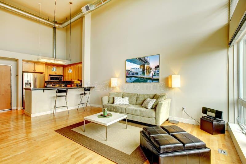Modern de woonkamerbinnenland van de zolderflat met keuken. stock afbeelding