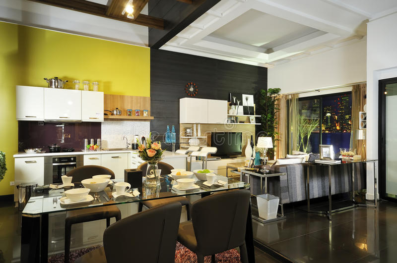 Modern decor Living and dining room 01 royalty free stock images