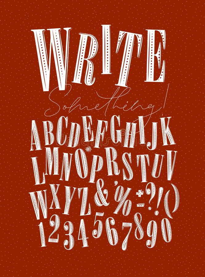 Alphabet pen line style red. Modern decorative alphabet with lettering write something drawing on red background vector illustration