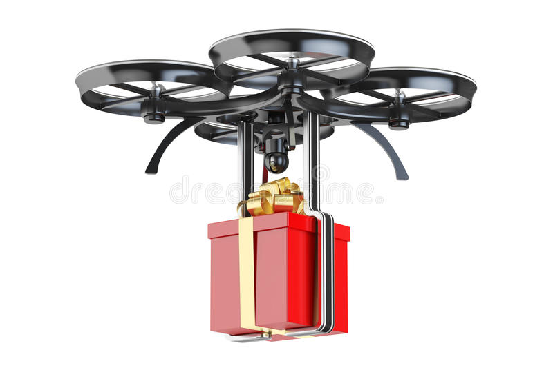 Modern delivery drone with a gift box, 3D rendering stock illustration