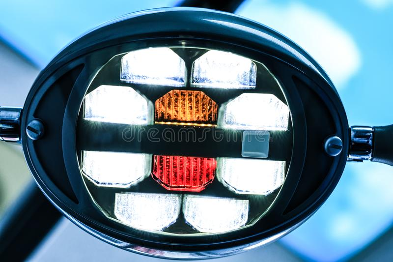 Modern dental lamp in dental clinic. Fancy lamp for the operating room. Close up on an overhead dental or medical exam light, with. Selective focus on LEDs of stock image