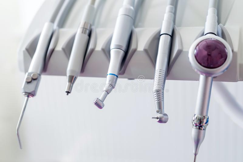 Modern dentist equipment for treatment in dentistry stock photos