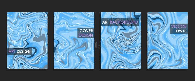 Modern design A4 Abstrakt begrepp marmorerar textur av kul?ra ljusa v?tskem?larf?rger stock illustrationer