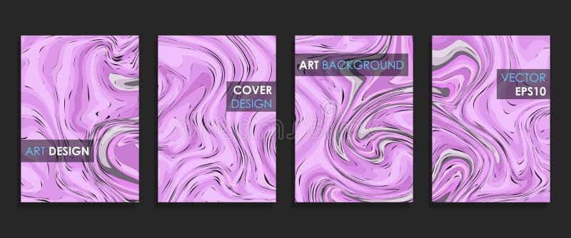 Modern design A4 Abstrakt begrepp marmorerar textur av kul?ra ljusa v?tskem?larf?rger vektor illustrationer