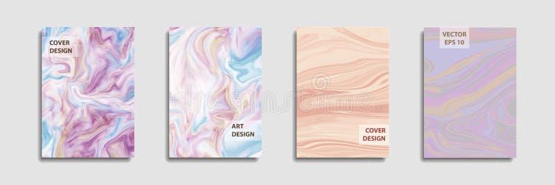 Modern design A4 Abstrakt begrepp marmorerar textur av kul?ra ljusa v?tskem?larf?rger Pladask trendmålarfärger Använda designpres vektor illustrationer