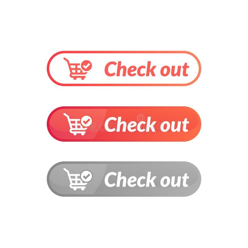 Modern design of check out button. online shop icon material. Design, action, add, apps, banner, basket, business, buy, cart, checkout, click, computer, concept royalty free illustration