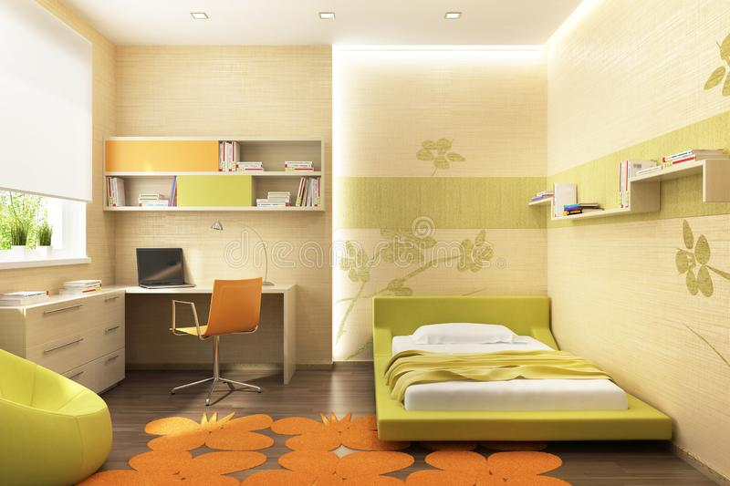 Modern design of a children`s room with a workplace. And bed royalty free illustration
