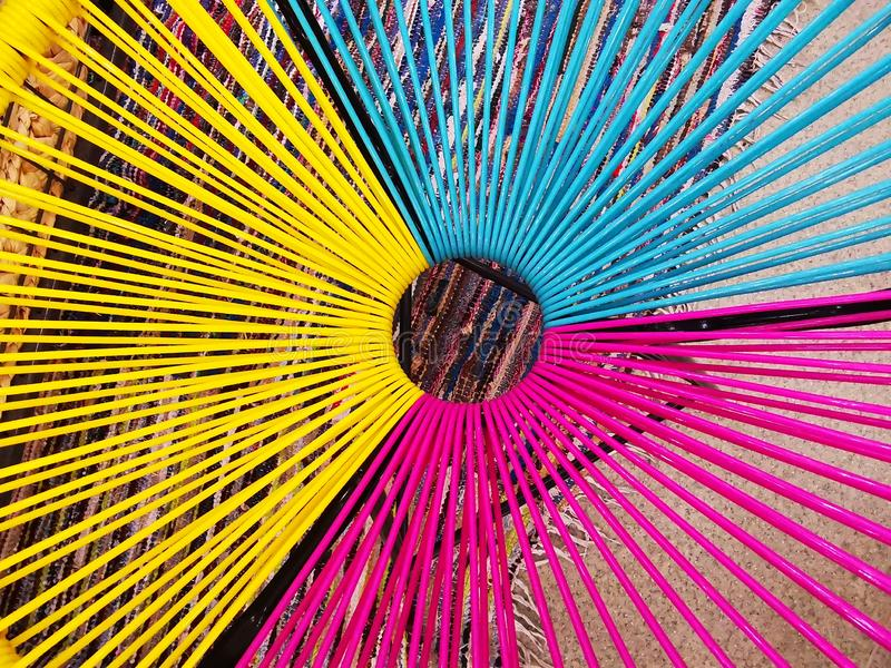 Modern design of colored strips caught in the circle royalty free stock image