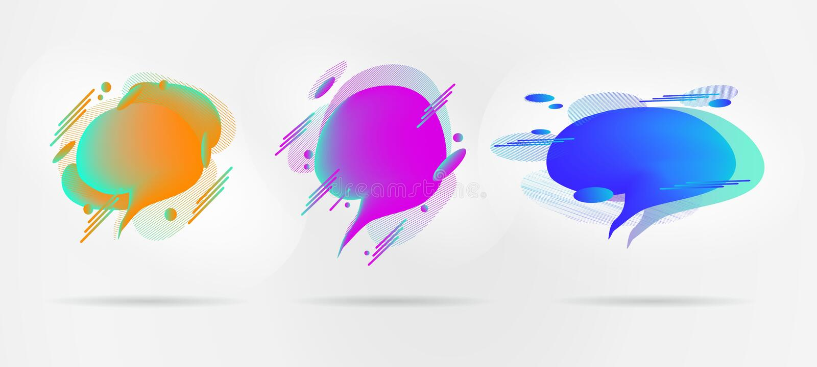 Modern design elements, geometric web symbols in the style of realism for design, social networks. Vivid gradient bright geometric spots isolated on light royalty free illustration