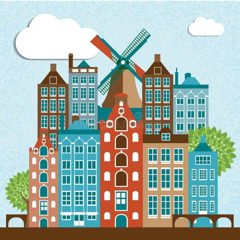 Modern design för Amsterdam stadshorisont vektor illustrationer