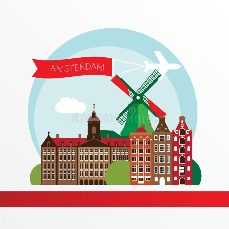 Modern design för Amsterdam stadshorisont Nederländerna vektor illustrationer