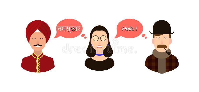 Modern design för den utländska hindi språkkursen, grupper, internationell kommunikation för skola - översättningsbegrepp royaltyfri illustrationer