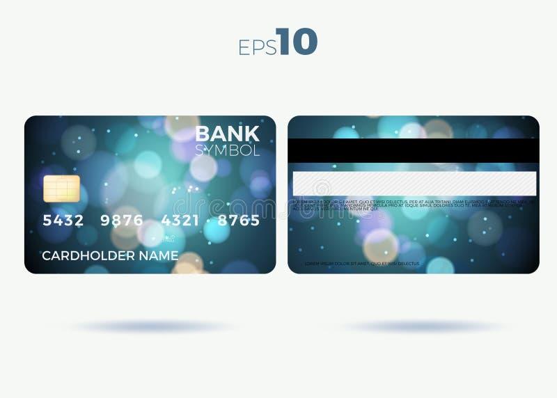 Modern design för kreditkort med en blå abstrakt bakgrund royaltyfri illustrationer