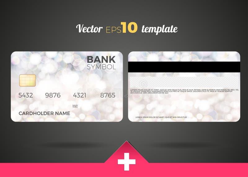 Modern design för kreditkort med en vit abstrakt bakgrund vektor illustrationer