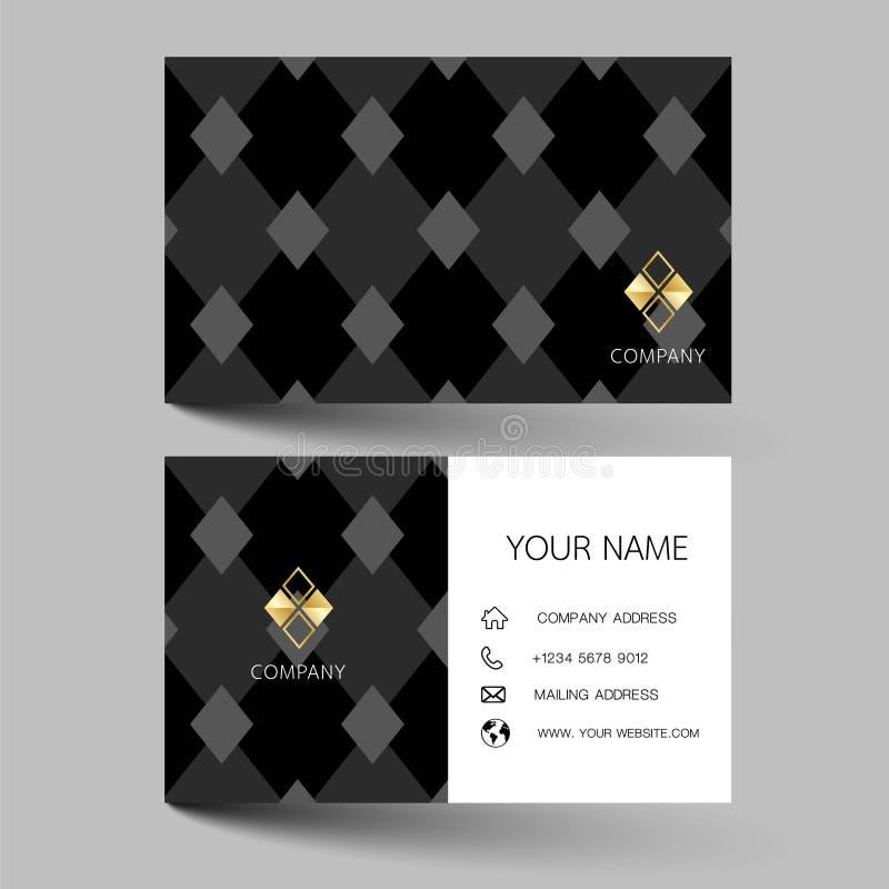 Modern design för mall för affärskort Med inspiration från abstrakta begreppet Kontaktkort för företag Dubbelsidigt svartvitt Vec royaltyfri illustrationer