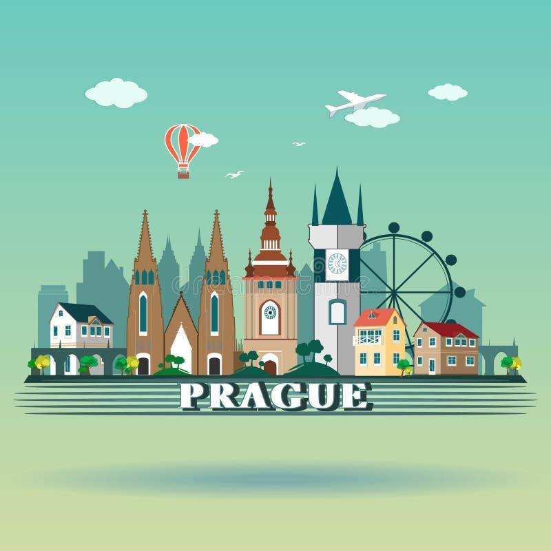 Modern design för Prague stadshorisont för republiktown för cesky tjeckisk krumlov medeltida gammal sikt E stock illustrationer