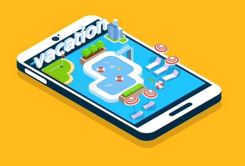 Modern design för semester för sommar för simbassäng för skärm för cellSmart telefon isometrisk 3d stock illustrationer