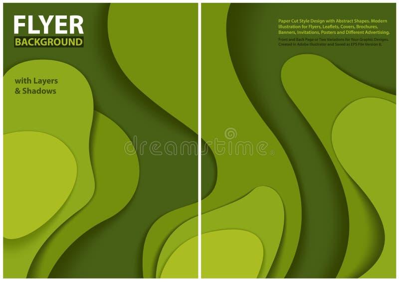 Modern design för stil för reklambladpapperssnitt med gröna lager vektor illustrationer