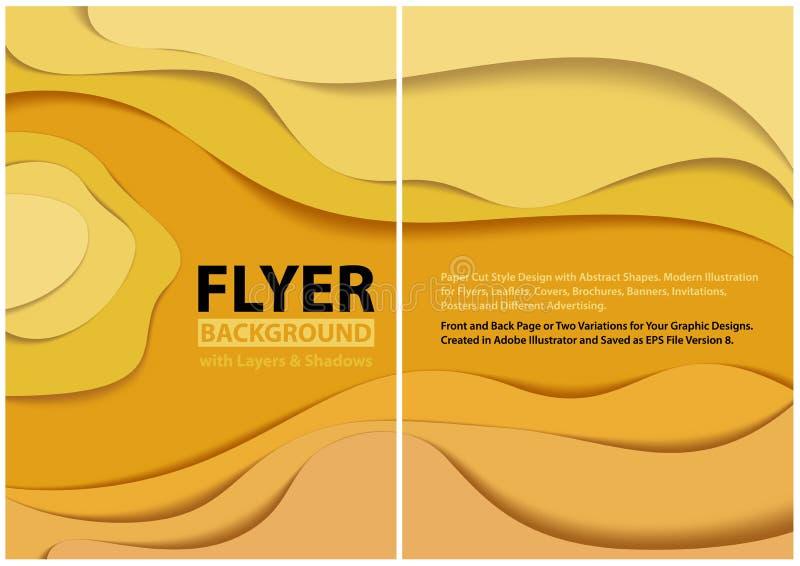 Modern design för stil för reklambladpapperssnitt med gula lager vektor illustrationer
