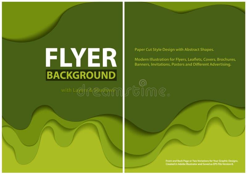 Modern design f?r stil f?r reklambladpapperssnitt med gr?na lager stock illustrationer