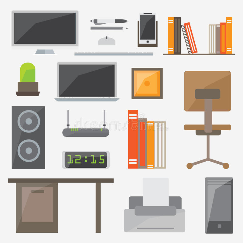 Modern design flat icon vector collection concept. Office things and equipment royalty free illustration