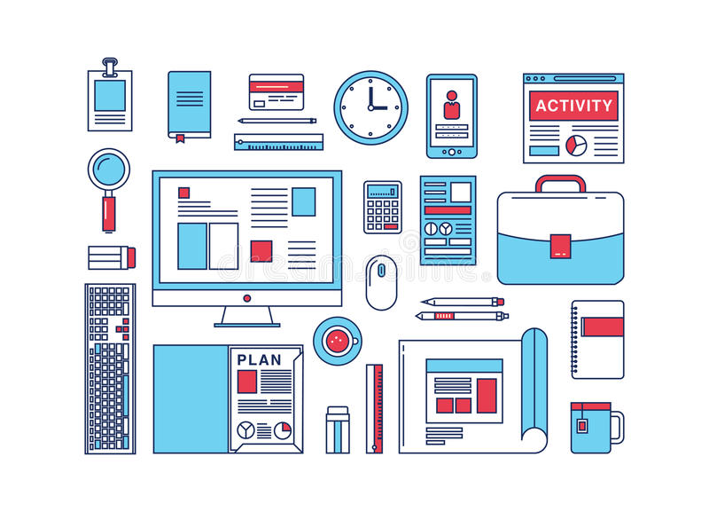 Modern design flat icon vector collection concept royalty free illustration