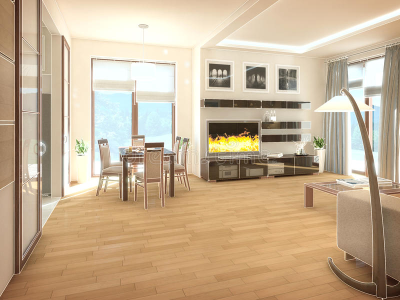 Modern design interior of living-room. 3D render royalty free illustration