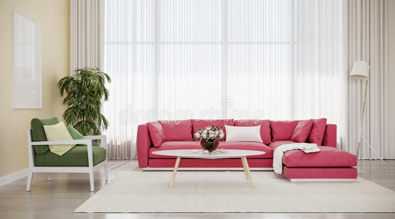 Modern design interior living room, red sofa with green chair. White background, high contrast, night scene stock photo