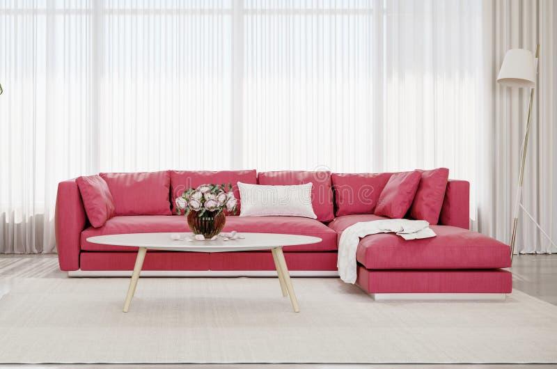 Modern design interior living room, red sofa royalty free stock photo