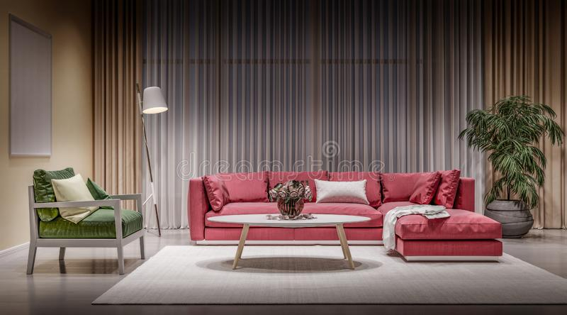 Modern design interior living room, red sofa. White background, high contrast, night scene stock photos